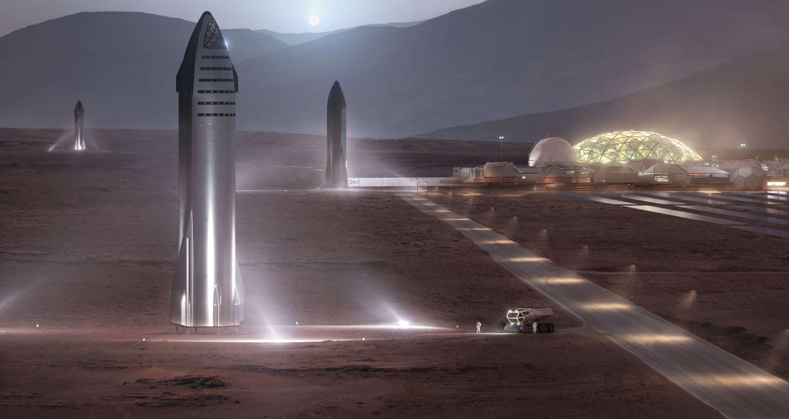 Starship Mars base render SpaceX full crop c